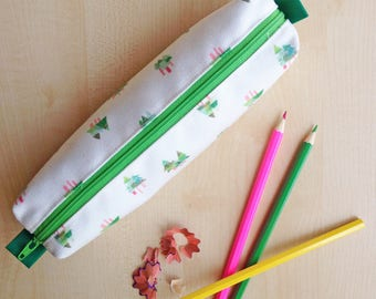 Fir Tree Print Pencil Case - Green zip and lining