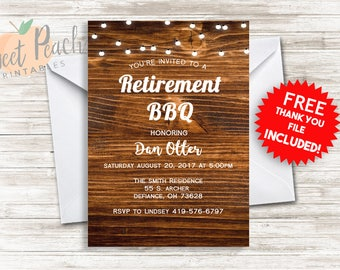 Retirement Invite Invitation BBQ Party 5x7 Digital Personalized Over The Hill Party Gender Neutral Wood Background String Lights  #27.0