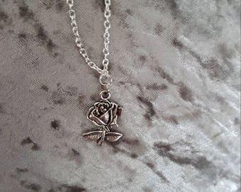 Longer length rose necklace