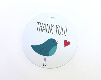 Thank You gift tag with illustrated blue bird and heart – set of 12