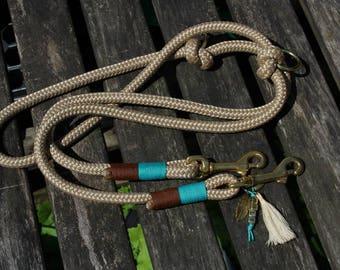 Handmade 2 compartment adjustable dog leash from Tau