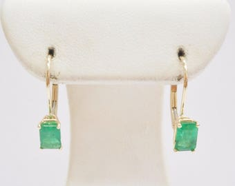 Emerald Earrings, Gold Earrings, Leverback Earrings, 14k Yellow Gold 1.2 CTW Emerald Cut Natural Emerald Leverback Earrings #3306
