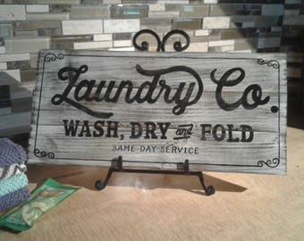 Vintage Laundry Room Sign/Wood Sign/Rustic/Shabby Chic Wall Art/Laundry Room Decor/Farmhouse Decor/Distressed Sign/Gift for Her/Handcrafted