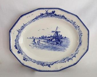 Royal Doulton Norfolk Blue & White Serving Platter 13.5 in x 11 in