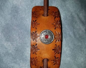 Leather Barrette with Red Stone Concho