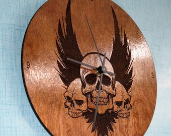 3 Winged Skulls Wall clock, Birch wood, Laser Engraved, Great decor for man cave or bar, Handmade, Unique, Motorcyclist, Bikers, Harley