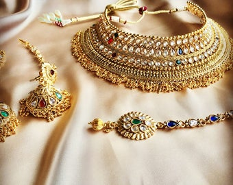 indian choker set, Indian choker necklace, Choker set, Indian Bridal Set, Indian Jewellery, Pakistani Jewellery , Bollywood Jewellery