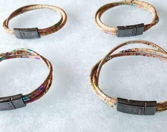 Colored Corkbracelets with a magnetic closure