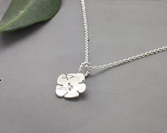 Thin Layering Necklace in Silver, Cherry Blossom Charm Necklace, best-friend-gift, CB-N04