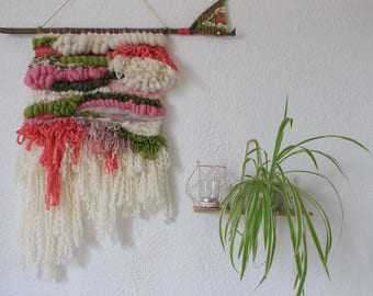 Woven wall hanging - wall weaving pink green and cream - wall decor - textures.