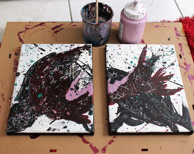 Rule of joy 18x24cm each Original abstract painting