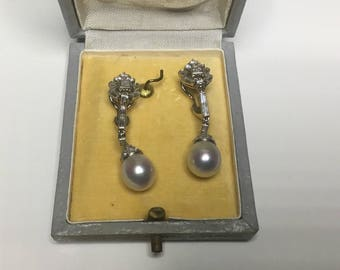 Antique 18K & Platinum 1.64 CTW South Sea Pearl And Diamond Dangle Earrings 12 Gr