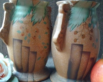 Stunning Pair of Beswick Art Deco Vases, mid-century twin Art Deco English Urns attributed to Beswick, incredible set of Art Deco items
