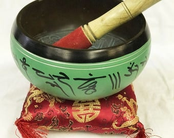 Hand Etched Buddha Green Singing Bowl/Gong With Stick and Cushion