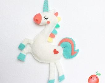 Multicolor Unicorn, ornament or wall decor fantasy Unicorn, wool felt