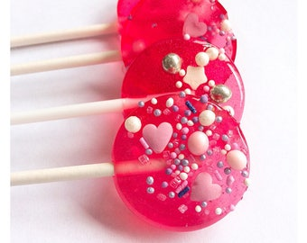 lollipops/pink/party bags/party favour/ sparkle and glitter/perfect for wedding favours, baby showers, christenings, princess parties
