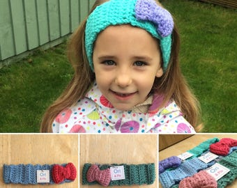 Crochet Headband with Bow, 3-5 years bow headband, childs headband, chunky headband, vegan friendly headband, ear warmer, bow headband