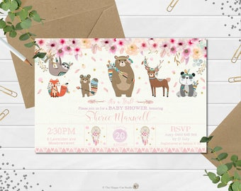 Tribal Woodland Baby Shower Invitation, Baby Girl, Invite, Personalized, Boho, Woodland Animals, Feathers, Floral, Gold, Digital File, Print
