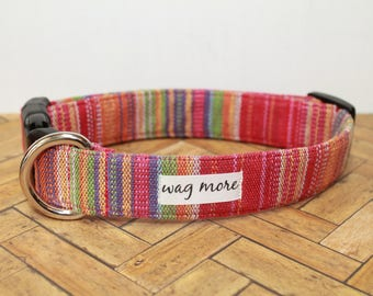 Red Aztec Tribal Dog Collar - Mayan Hand Woven Fabric - Stripe Ethnic Fabric - Guatemalan Textile - Boho Style - Give Back - Help your tribe