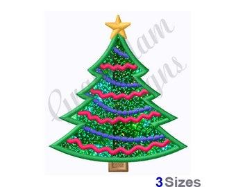 Christmas Tree Applique  - Machine Embroidery Design