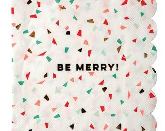 Fancy Foil Be Merry Christmas Napkins/ Trendy Christmas Paper Napkins/ Christmas Party Napkins/ Meri Meri Christmas