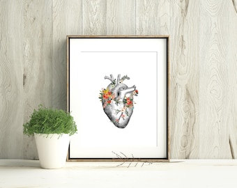 Anatomical Heart With Flowers