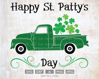St. Patty's Day Truck - Cut File/Vector, Silhouette, Cricut, SVG, PNG, Clip Art, Download, Holidays, Clovers, St. Patrick's Day, Retro, Old