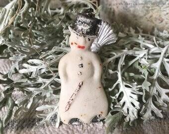 vintage tragacanth snowman xmas tree ornament brocante extraordinary xmas decoration