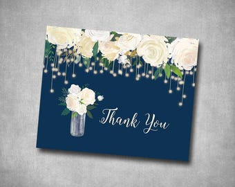 Thank You Card Wedding White Cream Navy String Lights Floral Roses Rustic Natural Country String Lights Printable or Printed