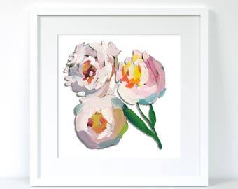 White peonies floral framed print