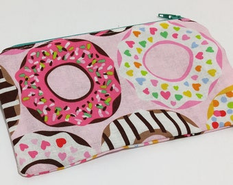 Did You Say Donuts? Novelty Zipper Pouch - makeup bag; pencil case; gift for her; cosmetic bag; carry all; gadget case; birthday;