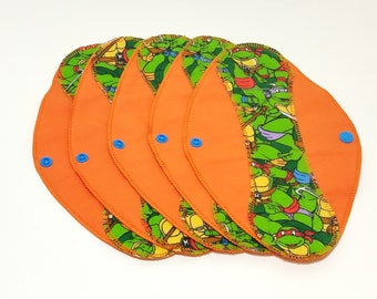 "Teenage Mutant Ninja Turtles Reusable Pantyliner with Wings (9.5"") - menstrual pad; panty liner; cloth pads; cotton; washable liner; flannel"