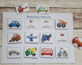 Vehicles matching game, Montessori teaching game, game for toddlers, early years game, learn vehicle names, interactive game, toddler game