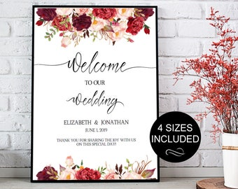 Wedding Welcome Sign Template Wedding Reception Greet Guests Burgundy Printable Welcome to Our Wedding Poster Board DIY Template| VRD137SBB