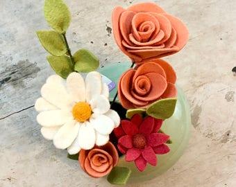Spring felt flowers & Jade Vase