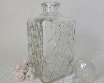 Vintage 3/4 Quart Diamond Pattern Square Glass Decanter