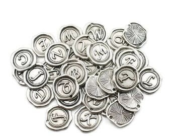 Wax Seal Letter - Alphabet Charms - Vintage - Initial Pendants - Silver Letter Charms - 26 pcs - DIY Jewelry - Jewellery Making