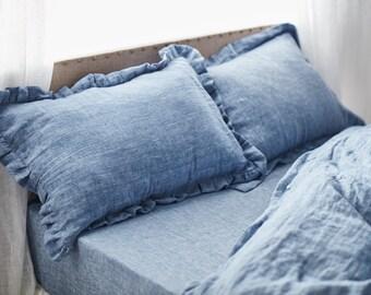 Blue jean linen ruffled sham -15 colors-linen pillowcase- linen pillow cover- Ruffled pillow sham -Available sizes #Secret maison#
