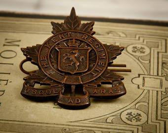 WW2 Canadian Cap Badge Kent Regiment – County – Maple Leaf - Military - Canada