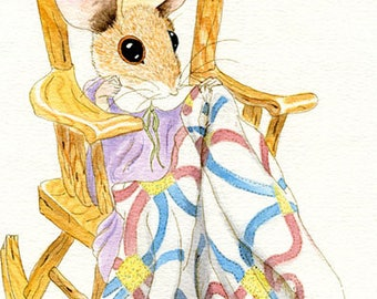 Momma and Baby Mouse Under Quilt Watercolor