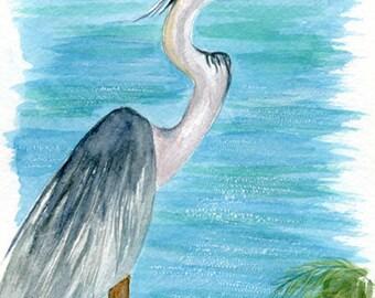 Blue Heron on Bay Watercolor, Beach Decor