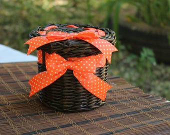 Wicker basket from paper with lid and pink ribbon Storage basket Lidded basket Willow basket Box for present Basket for gift Handwovenbasket