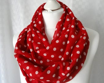 Polka dot infinity scarf, Red white polka dot scarf, Scarf for her, Lightweight scarf, Fashion scarf, Statement scarf