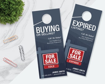 PHOTOSHOP Template,Buying or Selling and Expired Listing Real Estate Prospecting Door Hangers Template, Realty Door Hangers, Prospecting