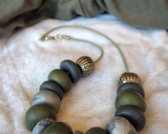 Elegant green and grey necklace