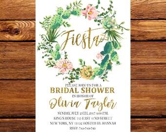 Fiesta Bridal shower invitation, Cactus Invitation, Fiesta invite, Printed Bridal shower invitation,Mexican Bridal Shower Invitation, 043