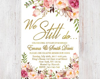 Anniversary invitations etsy anniversary party invitationwe still do invitationanniversary invitationfloral vow renewal invitation stopboris Image collections