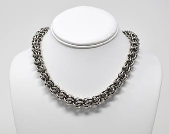 Vintage Modernist Antonio Pineda 970 Sterling Silver Taxco Mexico DNA Woven Necklace - 579871822