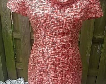 Banana Republic retro 100% silk midi short sleeve dress sz 4 w cowl neck