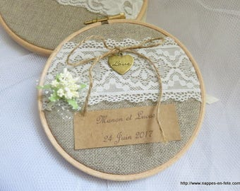Ring bearer with ivory lace in embroidery hoops